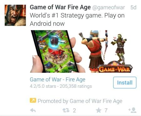 Twitter app install advert
